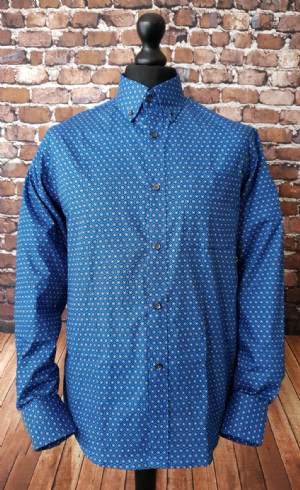 """Joel"" Blue Circles Pattern Button Down Shirt"